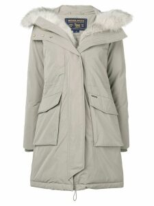 Woolrich feather down hooded coat - Grey
