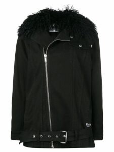 MSGM lamb fur-collar denim jacket - Black