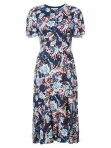 Prabal Gurung floral flared midi dress - Blue