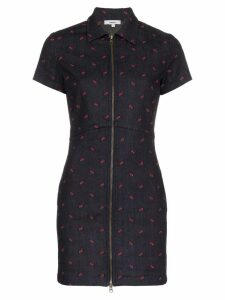 Miaou Serena Short-Sleeved Fitted Cotton Blue Dress