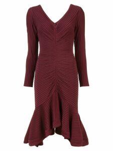 Tadashi Shoji ribbed longsleeved dress - Red