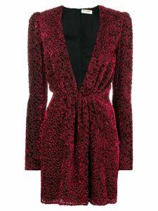 Saint Laurent velvet-flocked dress - Red