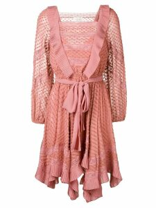 Zimmermann embroidered draped dress - Pink