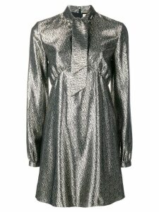 Saint Laurent pussy bow metallic dress