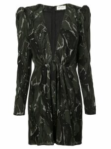 Saint Laurent camouflage long-sleeve mini dress - Black