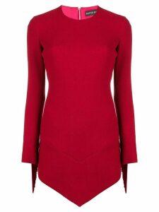 David Koma asymmetric fringed dress - Red
