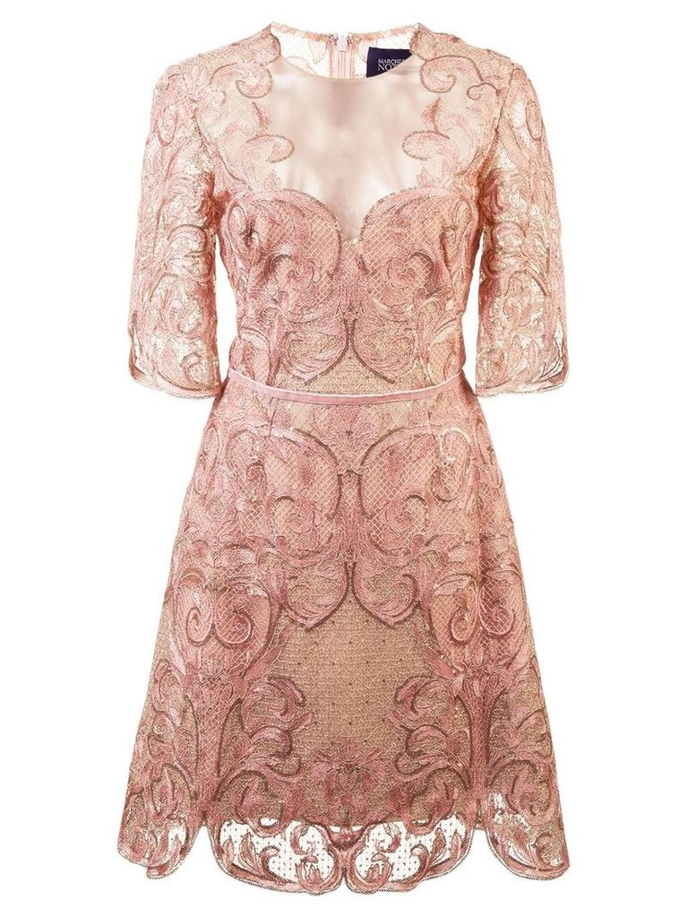 Marchesa Notte embroidered lace cocktail dress - Pink