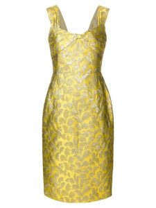 Prada floral baroque fitted dress - Yellow