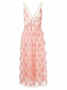 Manning Cartell embroidered sheer mid dress - Pink