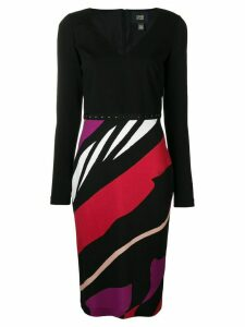 Cavalli Class striped fitted dress - Black