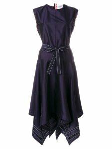 Thom Browne Scarf-hemmed Silk Dress - Blue