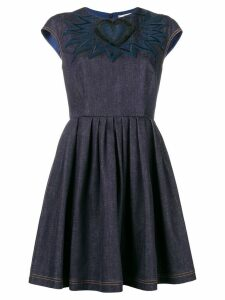 Fendi chambray heart mini dress - Blue