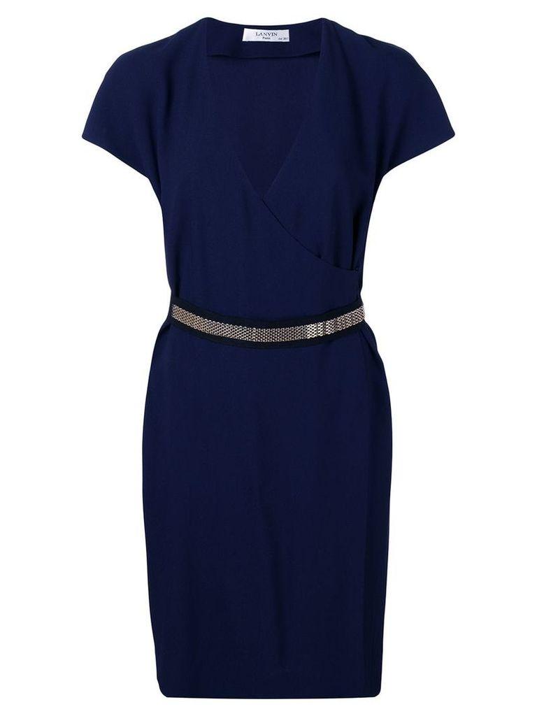 Lanvin chain-trimmed wrap dress - Blue
