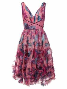 Marchesa Notte 3D floral embroidered cocktail dress - Pink