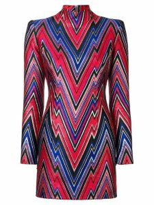 Balmain fitted printed short dress - Red