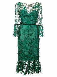 Marchesa Notte embroidered midi tea dress - Green