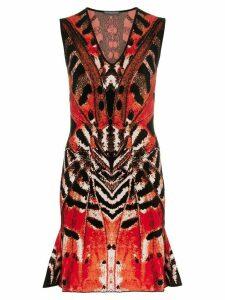 Alexander McQueen Butterfly Jacquard Mini Dress - 6540 Black/Red