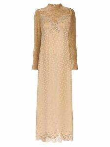 Stella McCartney high neck lace velvet silk blend dress - NEUTRALS