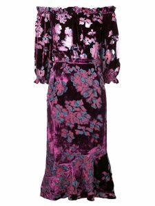 Saloni floral print midi dress - Pink