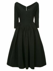 Preen By Thornton Bregazzi plunge neck flared dress - Black