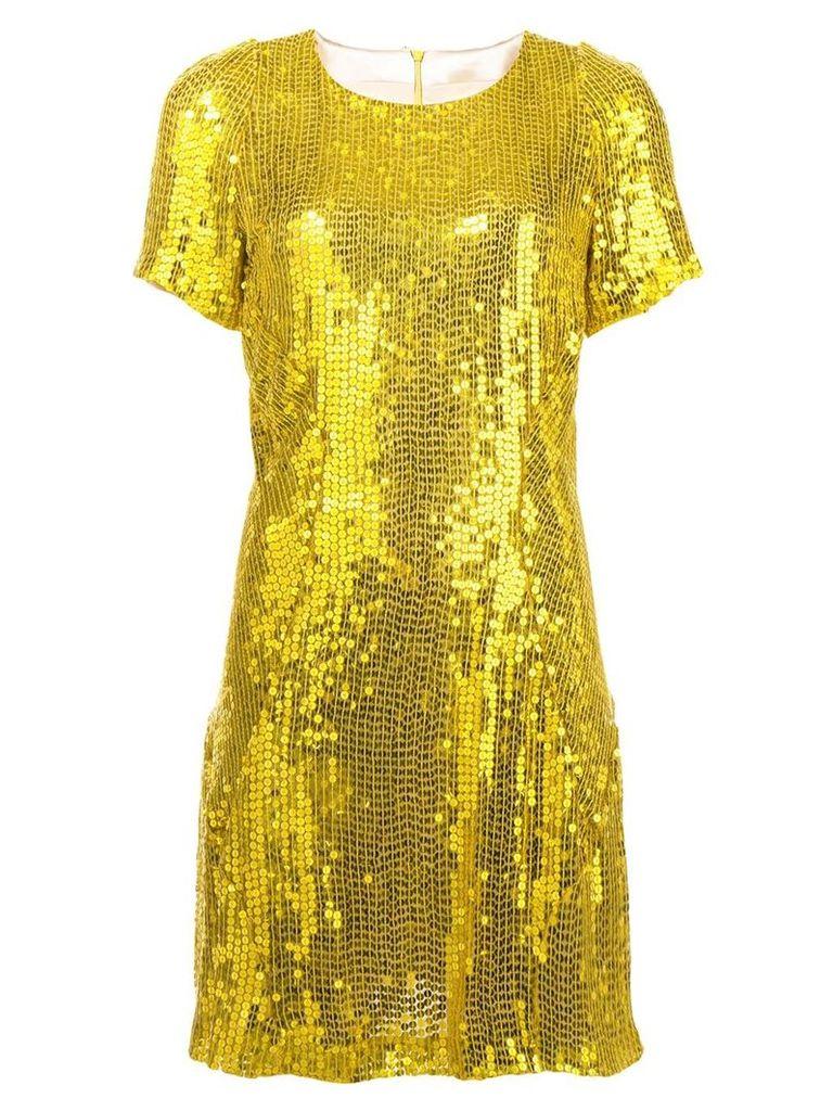 Galvan sequinned mini dress - Yellow