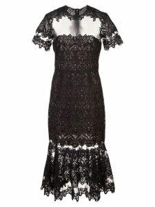 Jonathan Simkhai Guipure Lace Sheer Ruffle Dress - Black
