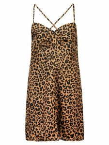 Michelle Mason leopard print mini dress - Brown
