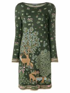 Alberta Ferretti deer intarsia knit dress - Green