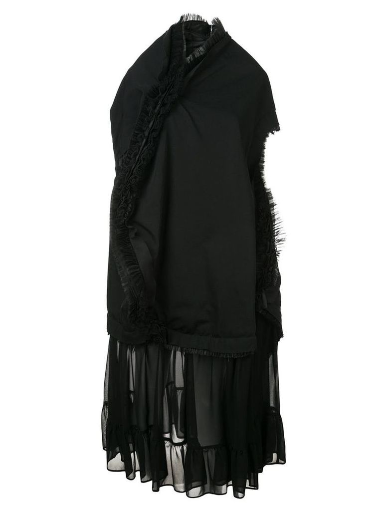 Comme Des Garçons asymmetric ruffle trim dress - Black