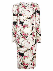 Dolce & Gabbana plate print midi dress - White
