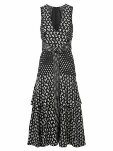 Proenza Schouler Block Print Sleeveless V-Neck Dress - Black