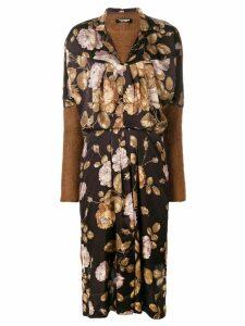 Junya Watanabe floral front jersey jumper dress - Black