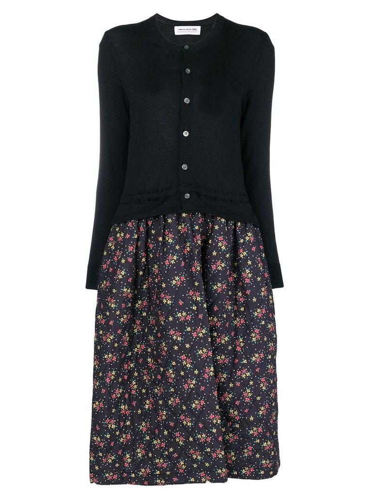 Comme Des Garçons Girl floral quilted cardigan dress - Black