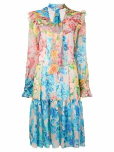 Blumarine floral ruffle dress - Blue