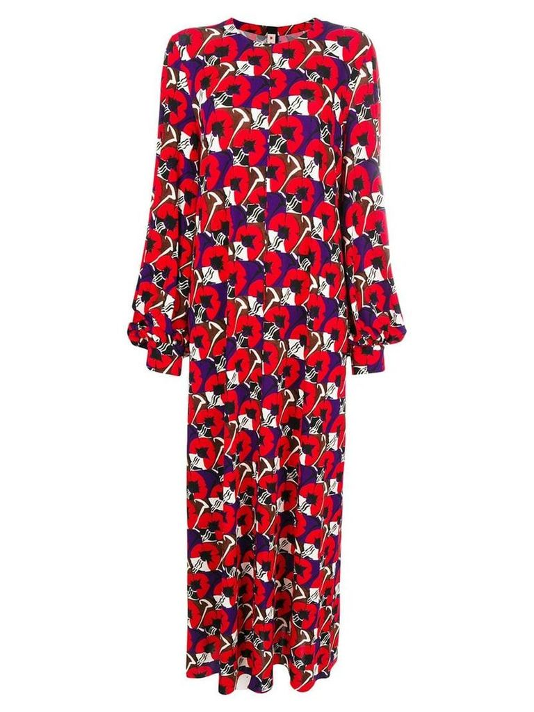 Marni flowers long dress - Red