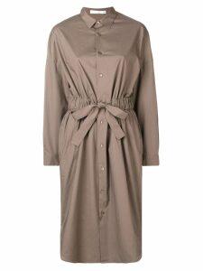 Knott cinched waist shirt dress - Brown
