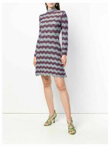 Alexa Chung scallop knit A-line dress - Blue