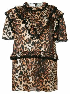 We11done leopard print ruffle trim dress - Brown