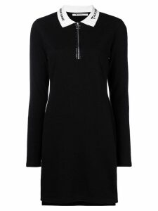 T By Alexander Wang quarter zip polo dress - Black