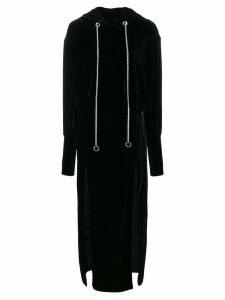 Almaz open back hoodie dress - Black
