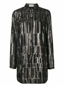 Saint Laurent long-sleeved patterned shirt dress - Black
