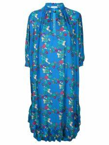 Kristina Ti floral print shift midi dress - Blue