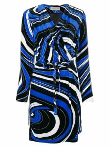 Emilio Pucci abstract pattern wrap dress - Blue