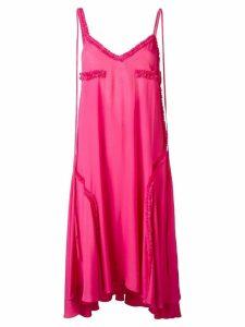 Cédric Charlier ruffled detail open back dress - Pink
