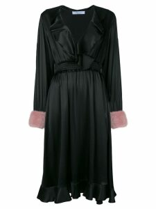 Blumarine fur cuff ruffled wrap dress - Black