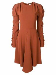 Chloé ruffled sleeve flared dress - Brown