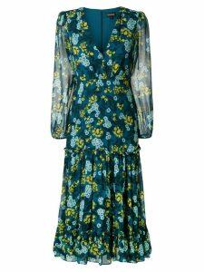 Saloni floral print longsleeved dress - Blue