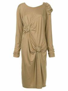 Muller Of Yoshiokubo twist detail midi dress - Brown