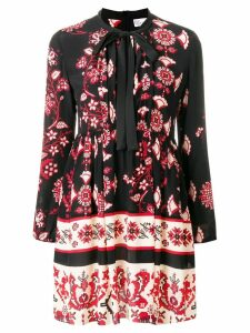Red Valentino lace-up flare mini dress - Black