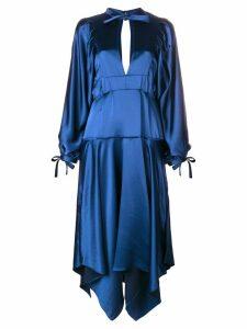 Self-Portrait asymmetric midi dress - Blue